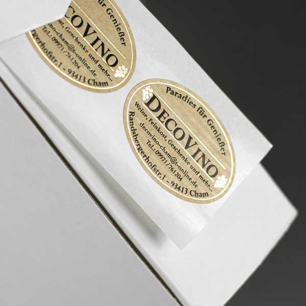 Prägeetiketten oval 25x15 mm | ovale Etiketten mit elegantem Heißfolienprägedruck