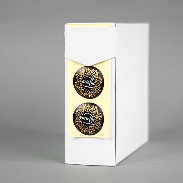Prägeetiketten rund 50 mm | runde Etiketten mit elegantem Heißfolienprägedruck