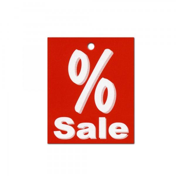 Kartonetiketten 40x50 mm, einzeln, Druck: Prozent Sale