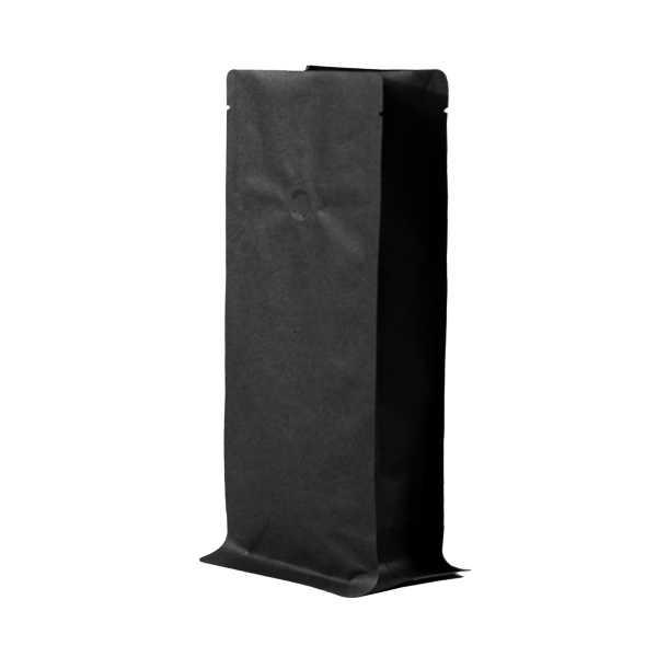 Bodenbeutel Boxpouch schwarz ohne Alu mit Aromaschutzventil in versch.Größen