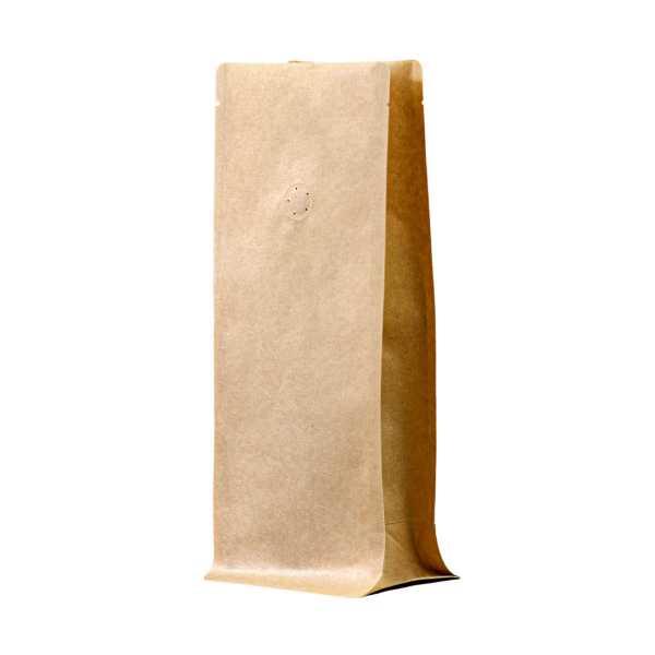 Bodenbeutel Boxpouch braun ohne Alu mit Aromaschutzventil in versch. Größen