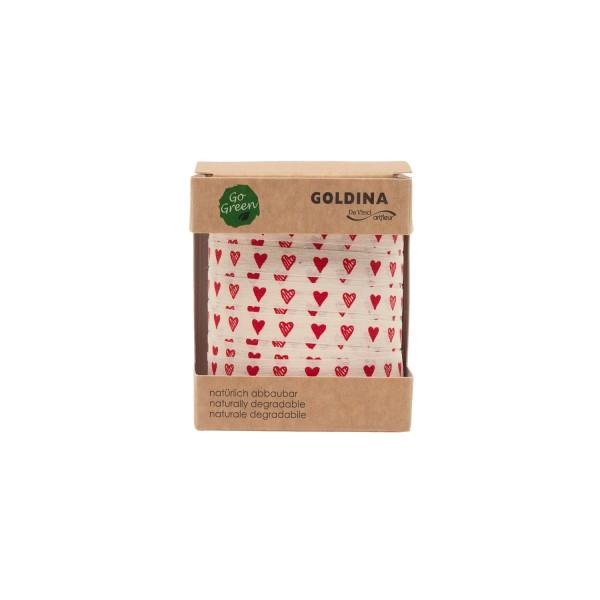 Ringelband Geschenkband Baumwolle Herzkino weiß Herzen rot