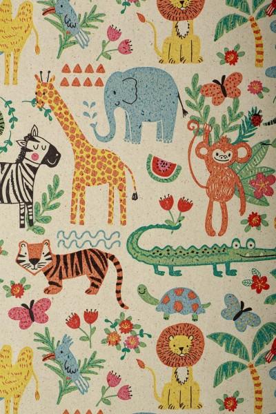 Geschenkpapierrolle Kinder Graspapier Tiere bunt