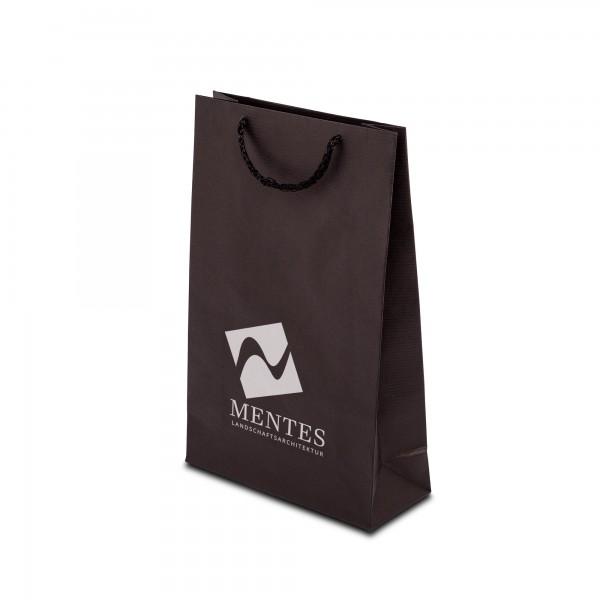 Papiertaschen ECO-PRESTIGE, schwarz, in 3 Größen - bedruckt
