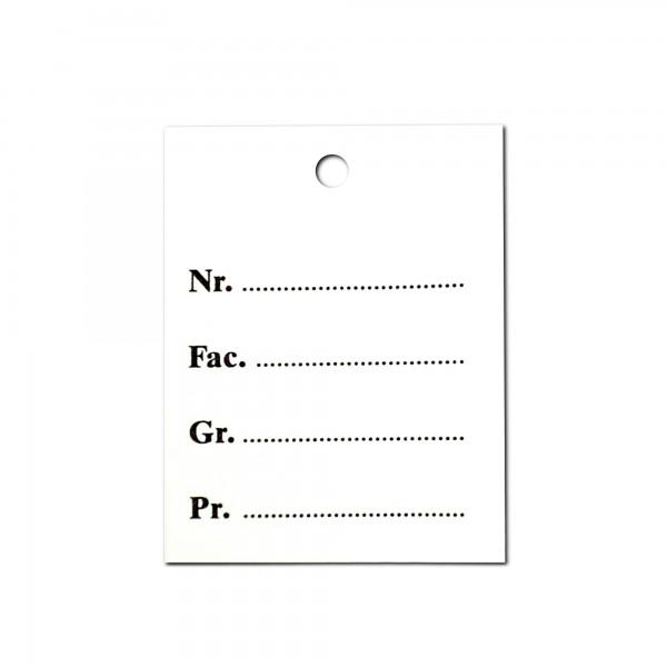 Kartonetiketten 45x55 mm, einzeln, Druck: Nr Fac Gr Pr