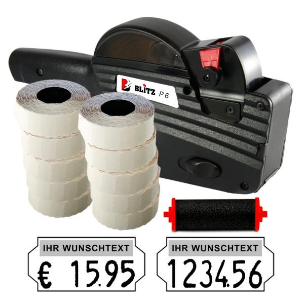 Blitz P6 Preisauszeichner, 6 Stellen, (Set 15.000 + 1 FR)