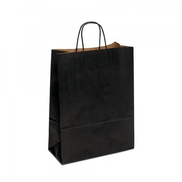 Papiertüten Schwarz, mit Kordelhenkel, in 4 Größen