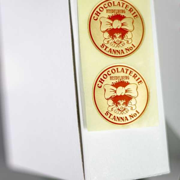 Prägeetiketten rund 20 mm | runde Etiketten mit elegantem Heißfolienprägedruck