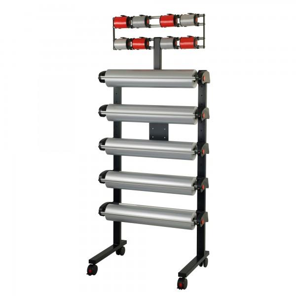 MULTI-VARIO Ständer, fahrbar, komplett 5 Papier/Folienabroller + 8 Bandabroller