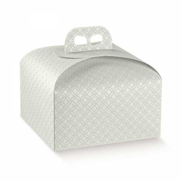 Tortenkarton Panettone Geschenk Box mit Griff, grau Relief, 2 Größen