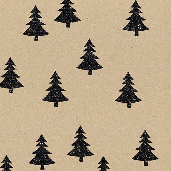 Geschenkpapierrolle Weihnachten Tannenbaum schwarz - glitzer