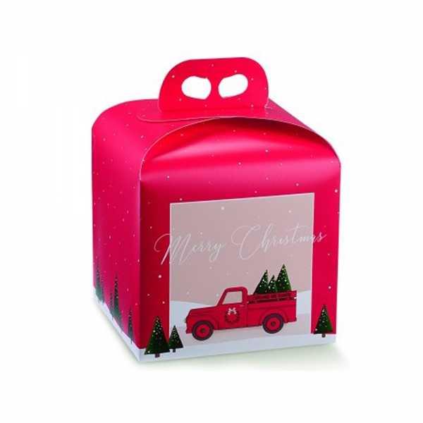Tortenkarton Panettone Geschenk Box Weihnachten mit Griff, Dekor Pick Up rot, 2 Größen