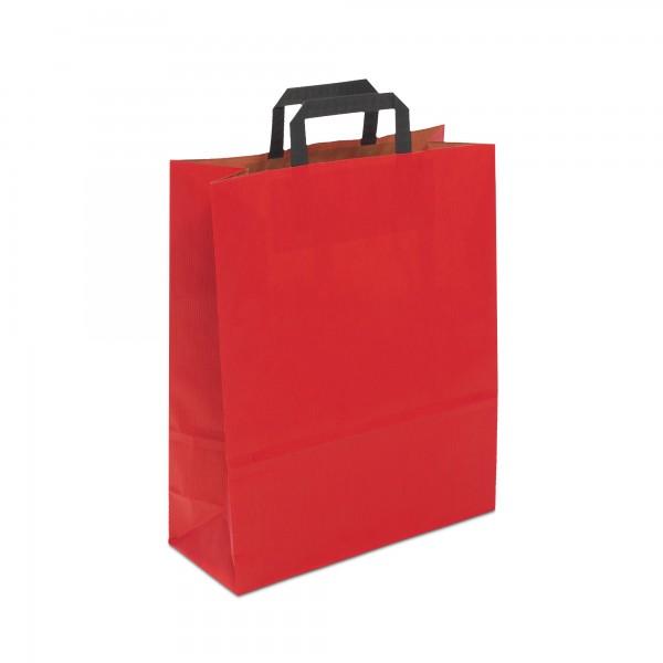 Papiertüten Rot, mit Flachhenkel, in 3 Größen