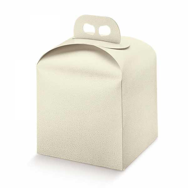 Tortenkarton Panettone Geschenk Box mit Griff, Lederoptik, creme, 2 Größen