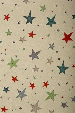 Geschenkpapierrolle Weihnachten Graspapier Bunte Sterne