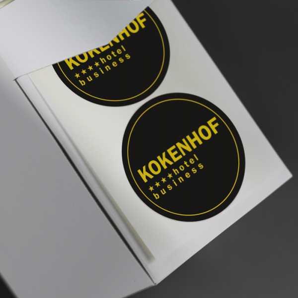 Prägeetiketten rund 90 mm | runde Etiketten mit elegantem Heißfolienprägedruck