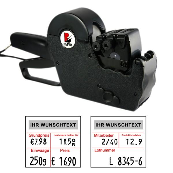 Blitz T011 Preisauszeichner, zweizeilig - Grundpreis MHD