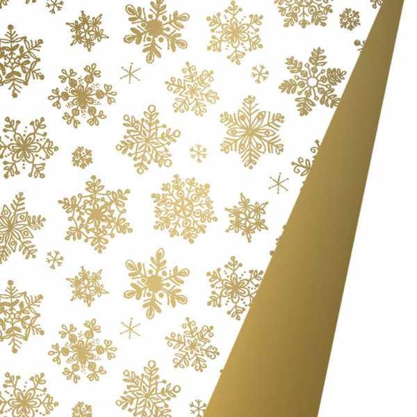 Geschenkpapierrolle Weihnachten Schneekristall gold, beidseitig