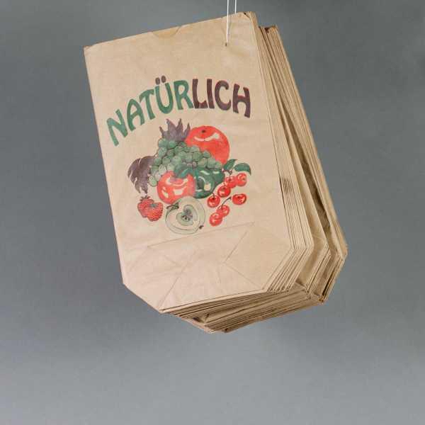 Obstbodenbeutel Kraftpapier braun mit Druck in versch. Größen