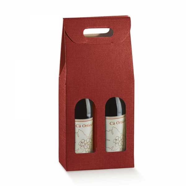 Wein Geschenk Tragekarton Champagner Leinenstruktur bordeaux, 2 Größen
