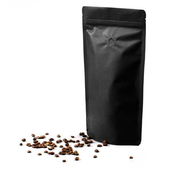 Standbodenbeutel - Doypack schwarz Slim-Size, Druckverschluß, Aromaventil, versch. Größen