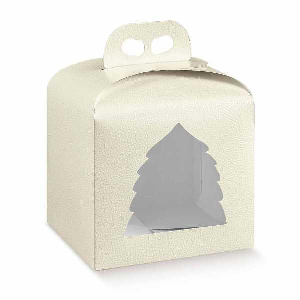 Tortenkarton Panettone Geschenk Box Weihnachten mit Griff, Lederoptik, creme, 2 Größen